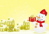 Boneco de neve e casas de natal — Vetorial Stock