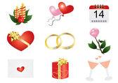 Símbolos relacionados con el amor — Vector de stock
