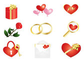 Things with red heart — Stock Vector