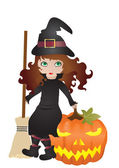 Witch with pumpkin — Stock Vector