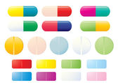 Colorful pills — Stock Vector