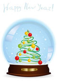 Snow globe with a decorated Christmas tree — Stock Vector