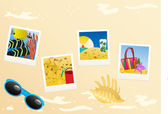 Instant photo photos with sunglasses with seashell — Stock Vector