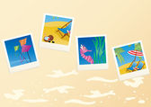 Vacation cards on sandy background — Stock Vector