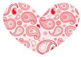 粉红色的佩斯利心 — 图库矢量图片