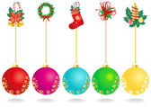 Christmas decoration with color balls — Stock Vector