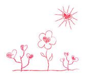 Heart-shaped flowers under sun in childish manner — Wektor stockowy