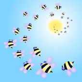 Swarm of bees flying to the sun — Stock Vector