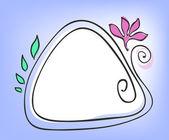 треугольная рама с цветок и листья — Cтоковый вектор