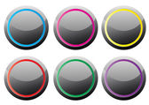 Black glance buttons with various color rings — Stock Vector