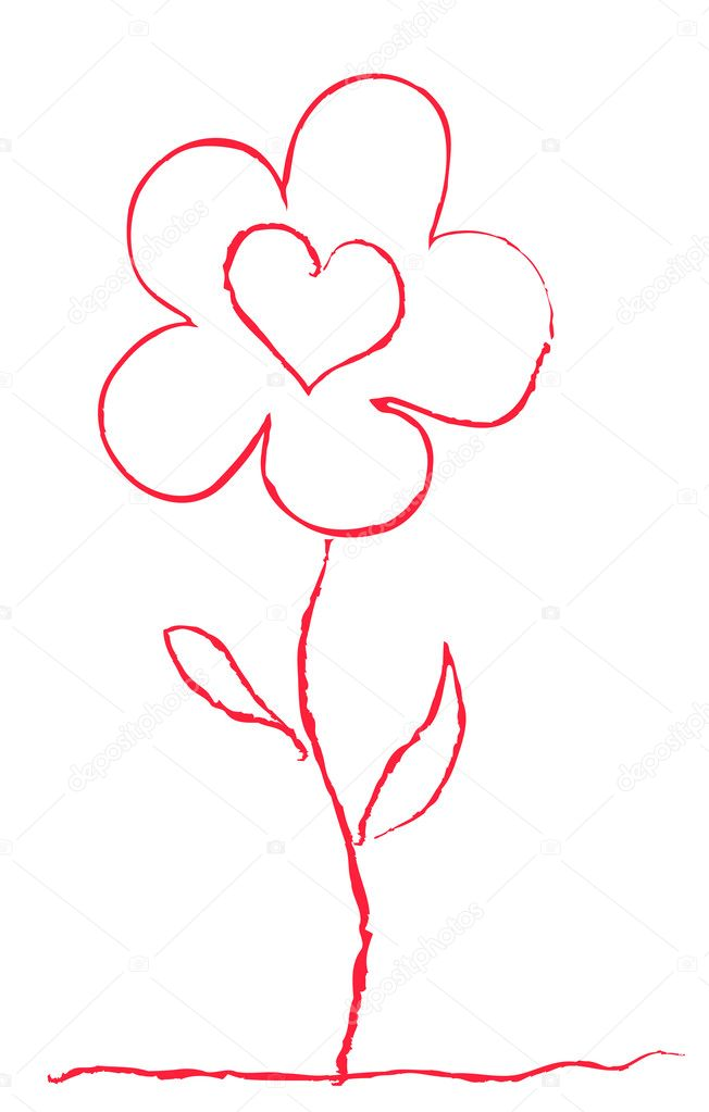 Vector illustration of red flower — Imagen vectorial #11695578