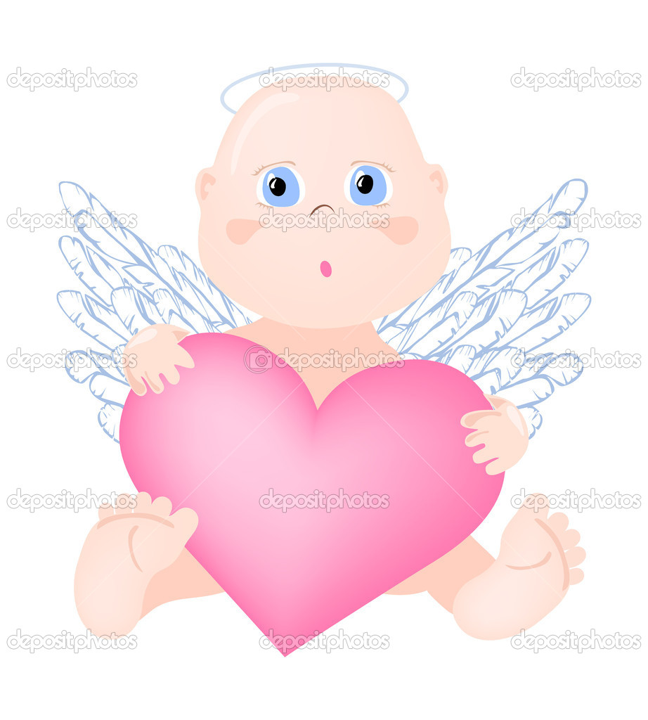 Vector illustration of angel with big heart  Stock Vector #11695591