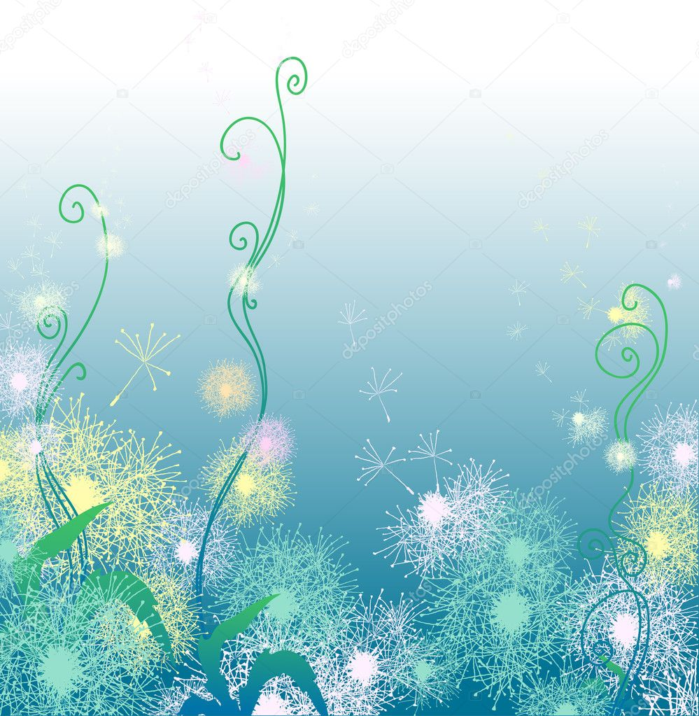 Vector illustration of blue background with dandelions — Stock Vector #11695624