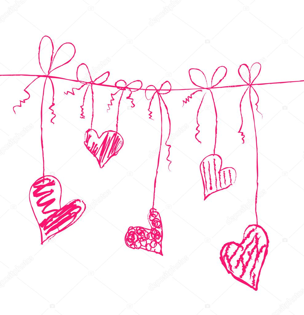 Vector illustration of hearts on strings  Stock Vector #11695956