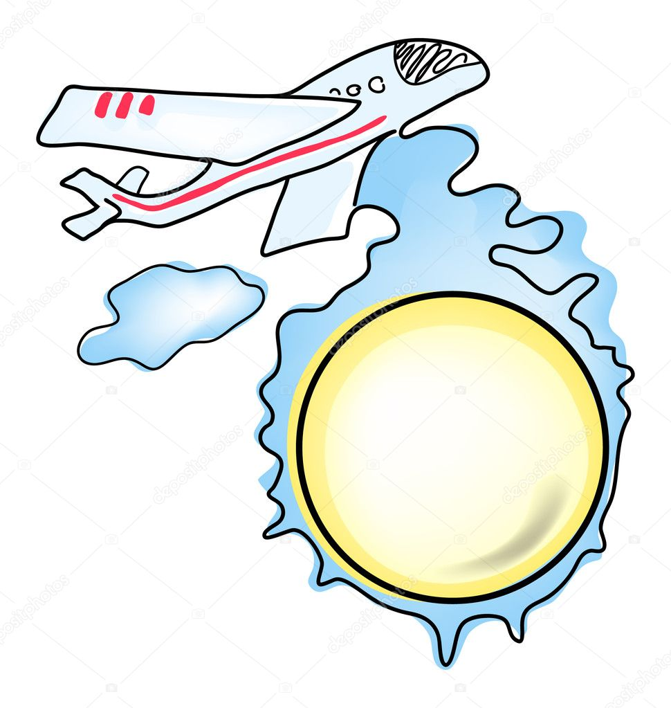 Vector illustration of modern airplane flying over earth — Stock Vector #11696124