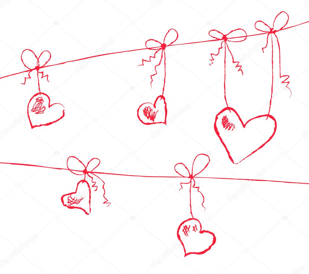Vector illustration of hearts hanging on strings — Векторная иллюстрация #11696152