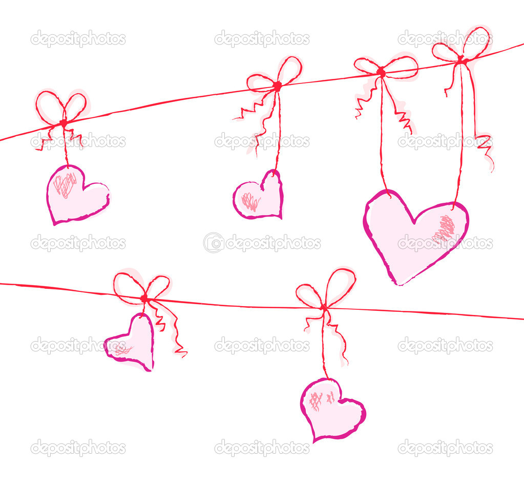 Vector illustration of hearts hanging on strings — Векторная иллюстрация #11696160