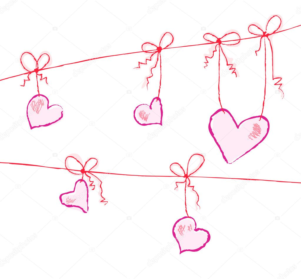 Vector illustration of hearts hanging on strings  Stockvectorbeeld #11696160