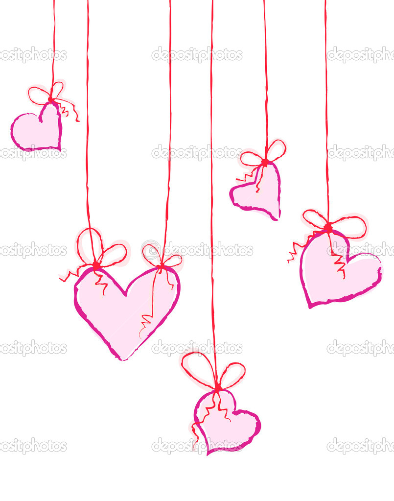 Vector illustration of several hearts hanging — ベクター素材ストック #11696167
