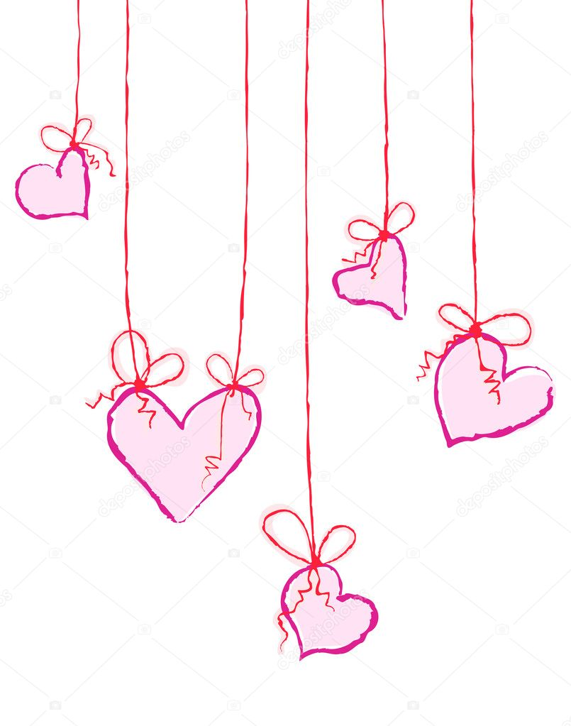 Vector illustration of several hearts hanging — Grafika wektorowa #11696167