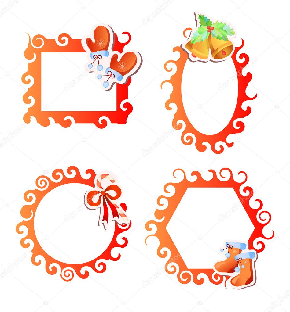 Vector illustration of four red Christmas frames  Stock Vector #11696263