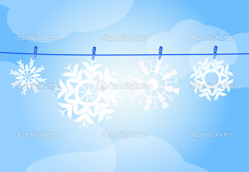 Vector illustration of four snowflakes hanging over a rope — Grafika wektorowa #11696266