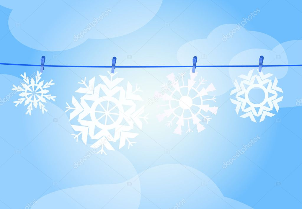 Vector illustration of four snowflakes hanging over a rope — Stockvectorbeeld #11696266