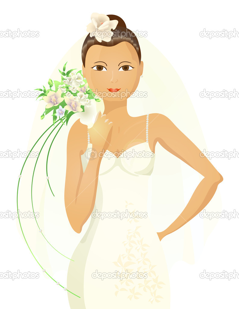 Vector illustration of lovely Asian bride holding bouquet of flowers — Stock Vector #11696584