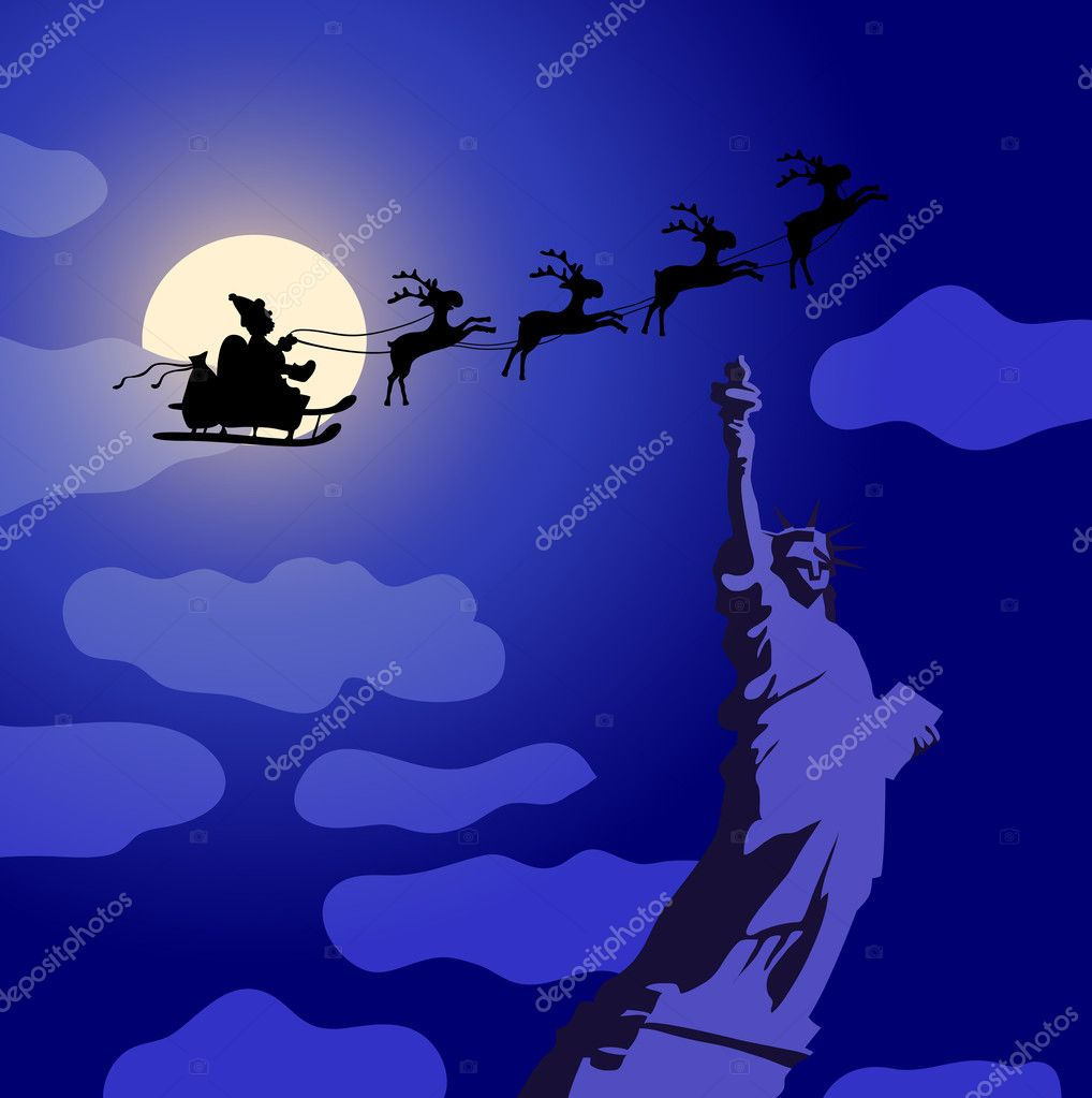 Vector illustration of Santa Claus with reindeers flying over America — Stock Vector #11696854