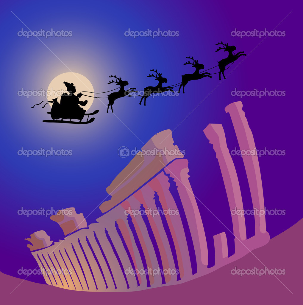 Vector illustration of Santa Claus with reindeers flying over Greece — Stock Vector #11696868