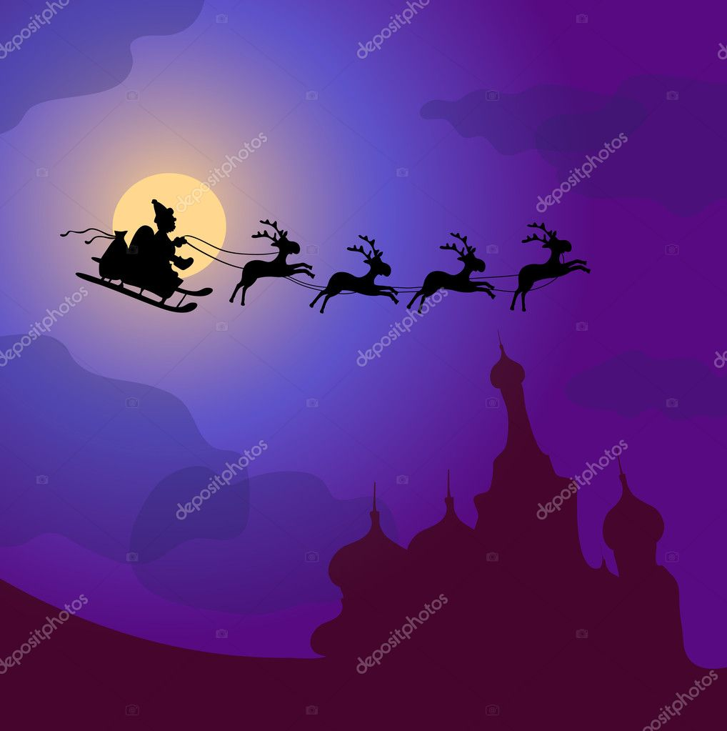 Vector illustration of Santa Claus with reindeers flying over Russia  Stock Vector #11696871