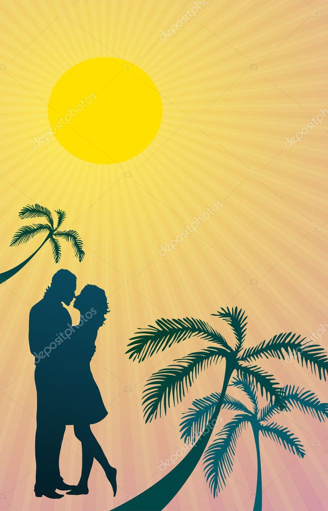 Vector illustration of silhouette of couple kissing during romantic trip  Stock Vector #11697018