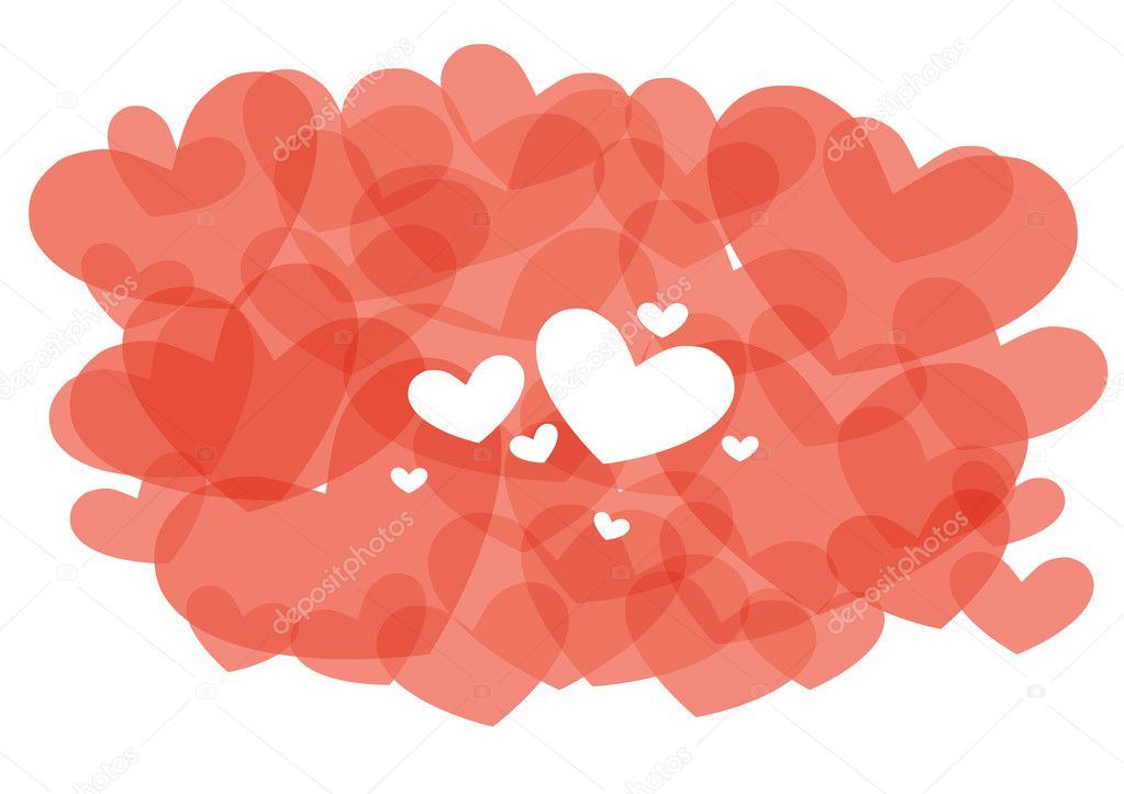 Vector illustration of red abstract hearts — Stock Vector #11697236