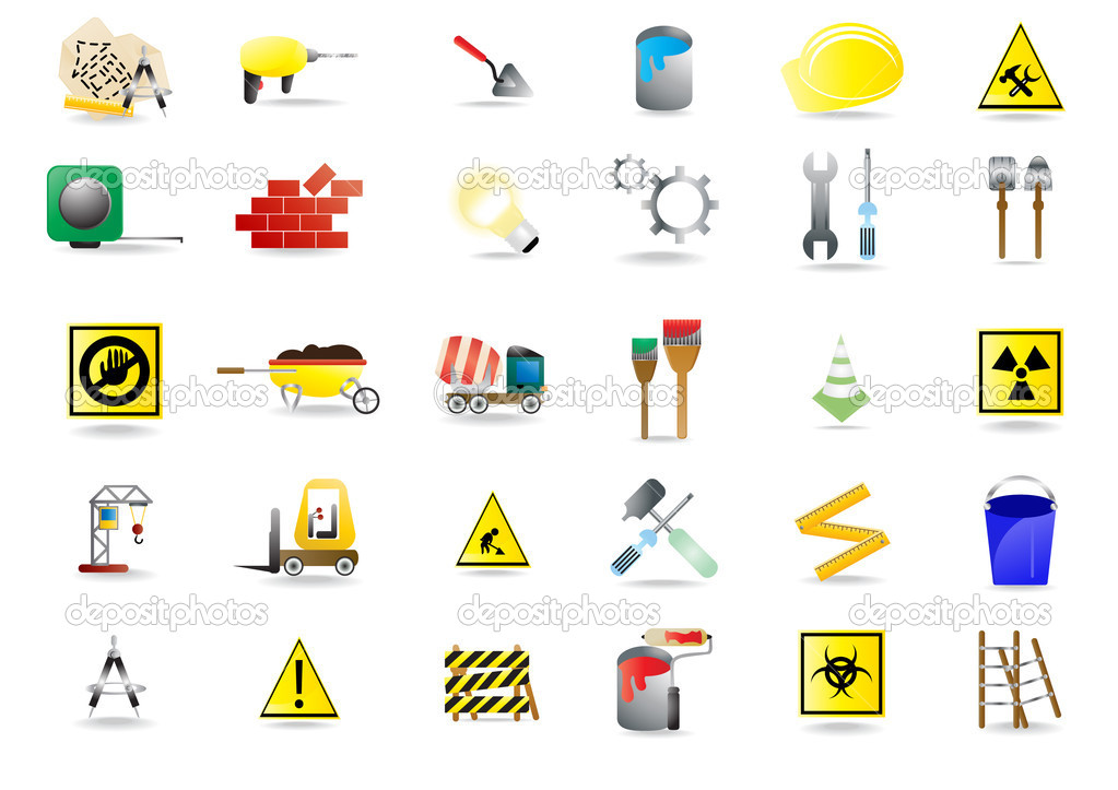 Set of under construction icons, vector illustration — Stock Vector #11697390