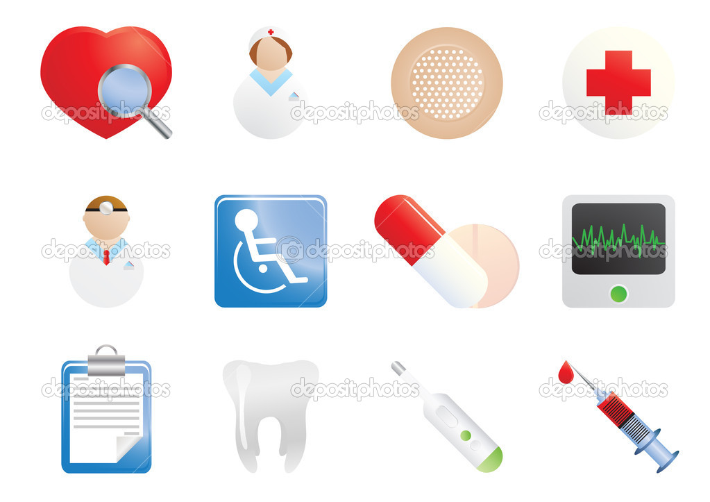 Set of hospital and medical icons, vector illustration — Stock Vector #11697759