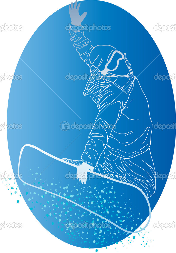 Vector illustration of white silhouette of snowboarder on a blue circle — Stock Vector #11697827