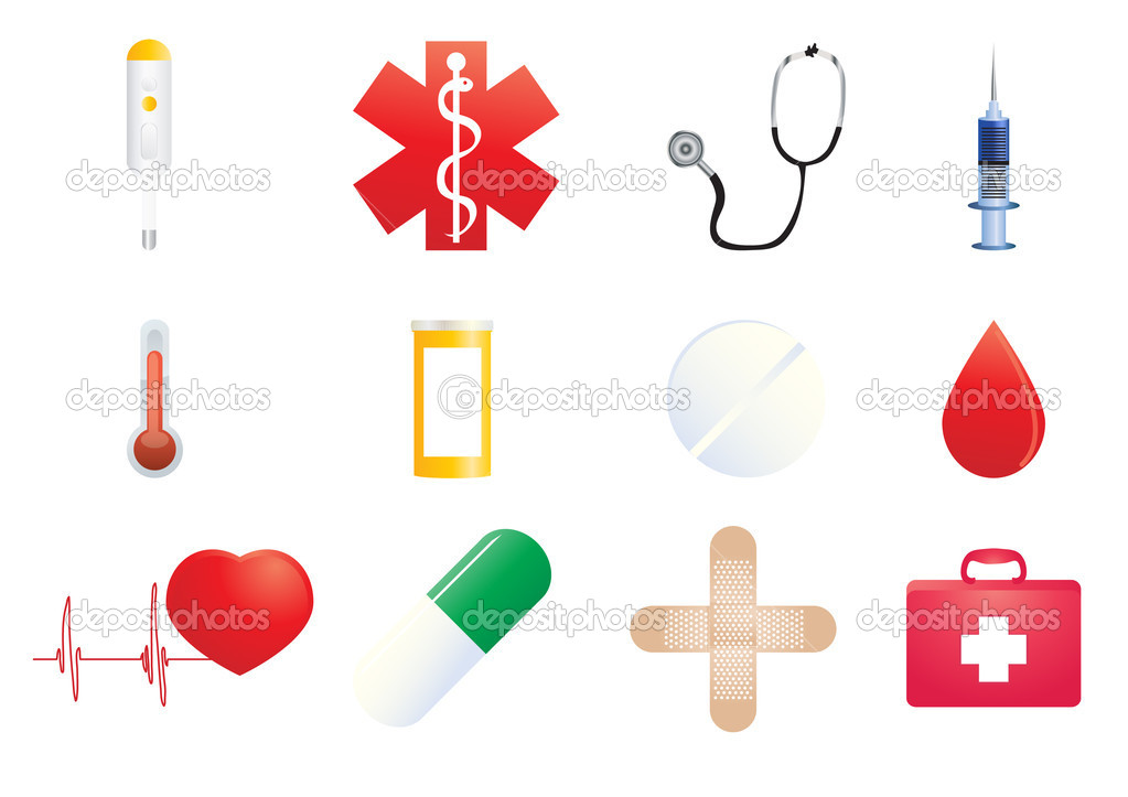 Vector illustration of medical icons on a white background — Stock Vector #11697843