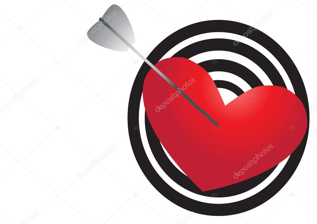 Vector illustration of red heart pierced with an arrow  Stock Vector #11698038