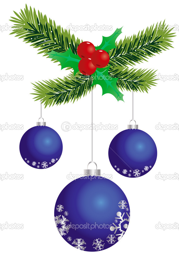 Vector illustration of three blue Christmas balls hanging on spruce twig  Stock Vector #11698426