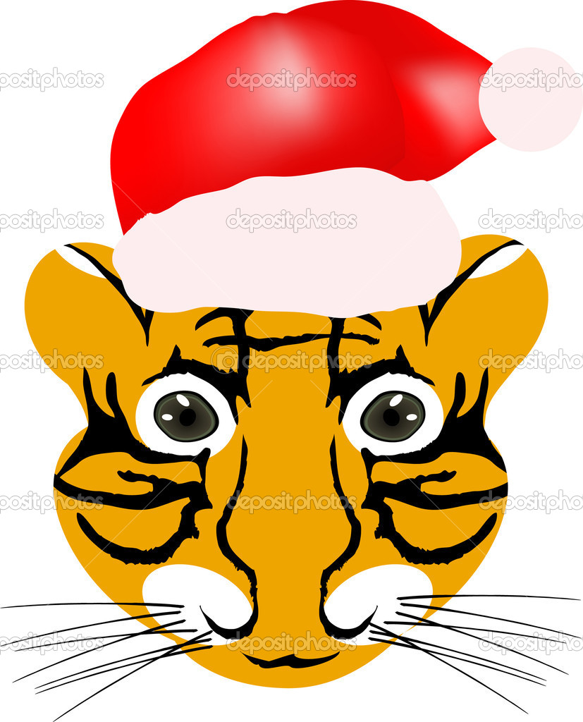 Vector illustration of tiger baby head with red hat isolated on a white background — Stock Vector #11698667
