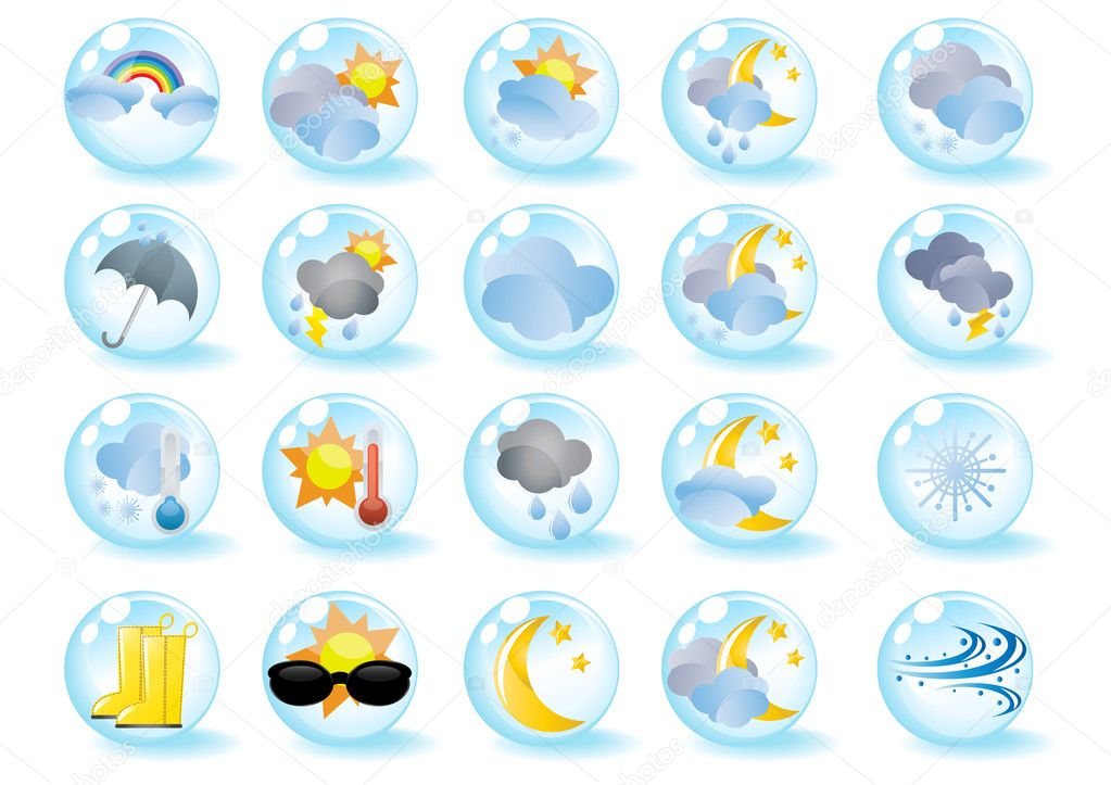 Set of weather icons in blue balls, vector illustration  Stock Vector #11698863