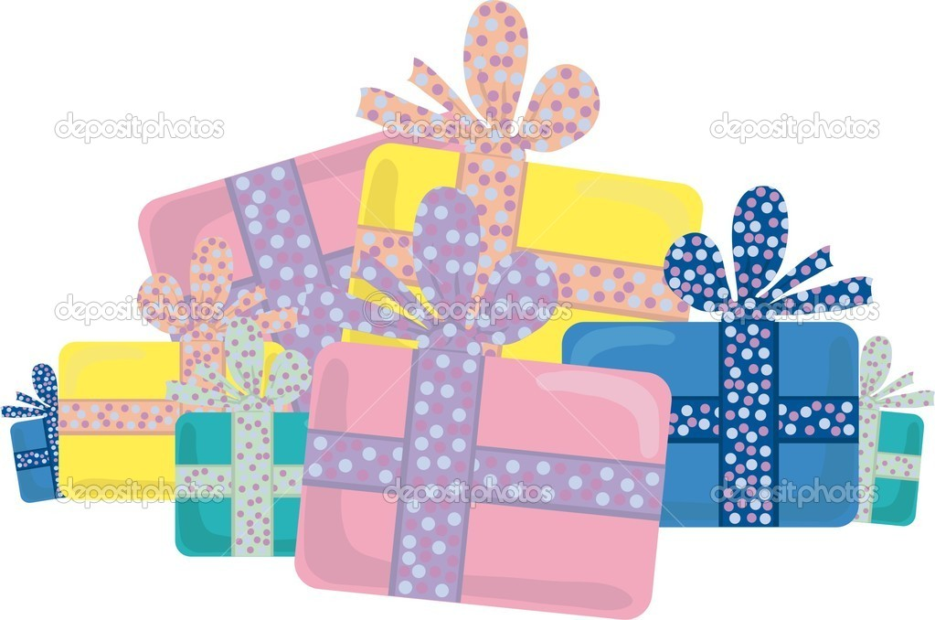 Vector illustration of several color presents  Vettoriali Stock  #11698961