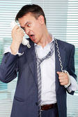 Tired from calls — Stock Photo