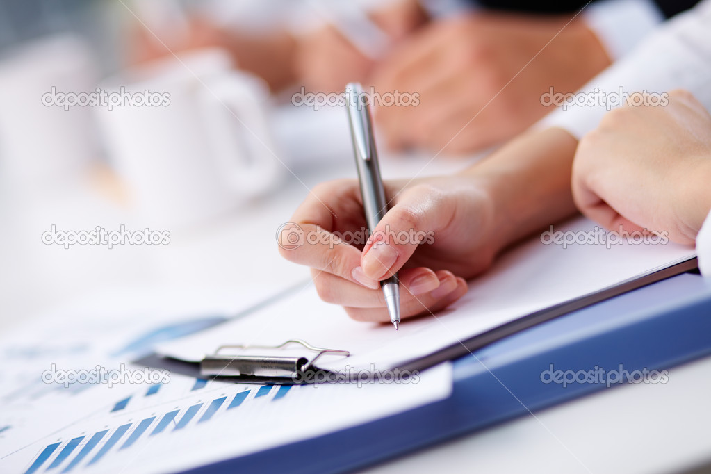 Female being ready to take notes at seminar — Stock Photo #12497916