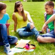 Homework outdoors — Stock Photo