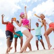 Beach dancers — Stock Photo