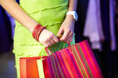 Shopper with paperbags — Stock Photo