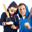 Guys with bats — Stock Photo
