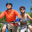 Cycling couple — Stock Photo