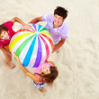Teens with big ball — Stock Photo